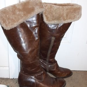 BORN Leather & Fur Brown Tall Boots Size 7